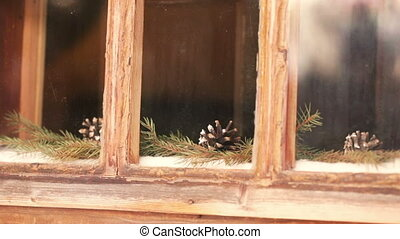 Cones on window - Behind glass on window are cones and...