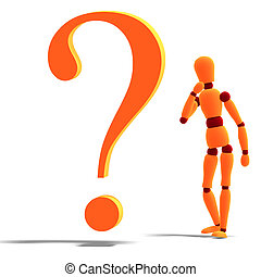 an orange red manikin standing by a question mark - 3D...