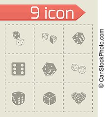 Vector dice icon set on grey background