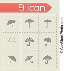 Vector umberlla icon set on grey background