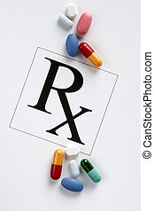 Colorful prescription drugs - Pills, capsules,tablets and Rx...