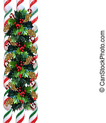 Christmas Holly Border with ribbon candy