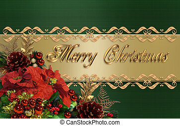 Christmas Border Green And Gold Satin - Image and...