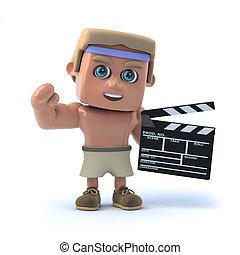 3d Bodybuilder makes a movie - 3d render of a bodybuilder...