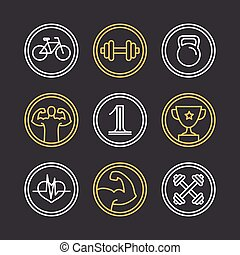 Vector crossfit logos and emblems - linear icons and design...