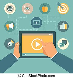 Vector video marketing concept in flat style - video player...
