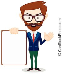 Businessman with blank poster for your text, vector...