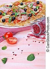 italiano, prosciutto, y, rucola, pizza.,