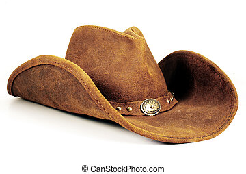 Cowboy Hat - A brown cowboy hat against a white background
