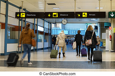 Airline Passengers - Women Airline Passengers in an Airport