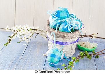 Basket Easter eggs spring branches