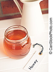 honey in jar and label - the honey in jar and label
