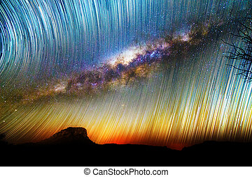 Milky way startrails - Amazing image of star trails and the...