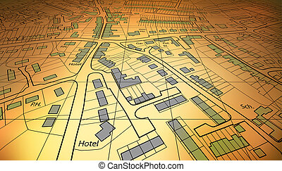 Low map - Angled view of a housing map of a generic town