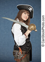 Sea pirate of a female with sabre on blue background - The...