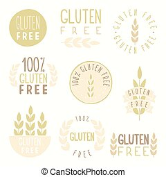Gluten free badges. Vector hand drawn illustration