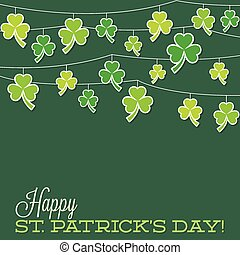 Retro shamrock string St. Patrick's Day card in vector...