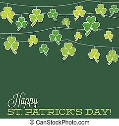 Retro shamrock string St. Patrick's Day card in vector...