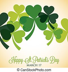 Overlapping, shamrock, St, Patrick's, Day, card, in, vector,...