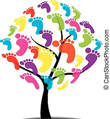 vector tree, foot, paw, print