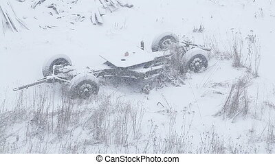 Skeleton of truck - Snowbound skeleton of destroyed truck