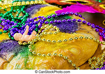 Mardi Gras - Table decorated for Mardi Gras party.