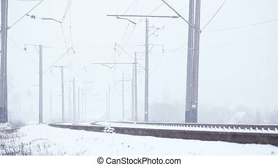 Snowy railway - Rotate railway line and snowing