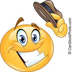 Hat tip emoticon - Emoticon tipping his hat