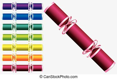 Bright retro Christmas crackers in vector format.