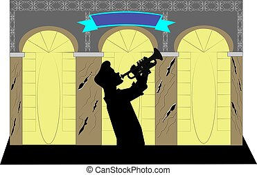 trumpet player background - trumpet player in silhouette in...