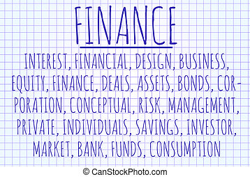 Finance word cloud written on a piece of paper