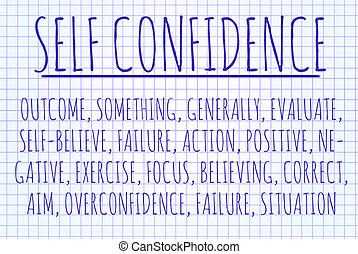 Self confidence word cloud written on a piece of paper