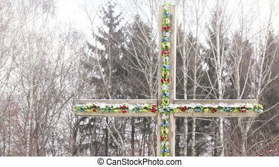 Wooden cross - National wooden cross decorated with flowers