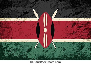 Kenyan flag Grunge background Vector illustration Eps 8