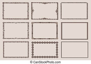 Vector decorative frames, set 9 - Decorative vintage frames...
