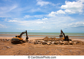 excavator machine - Phetchaburi, THAILAND - JULY 27 :...