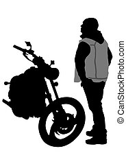 Man and bike - Sport bike and man on white background