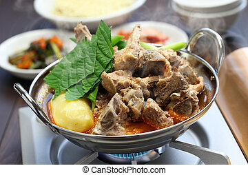 gamjatang, korean cuisine - gamjatang, pork bone and potato...