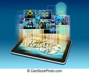 modernos, comunicação, tecnologia,