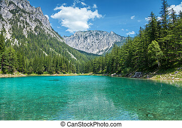Grner see with crystal clear water in Austrian Alps