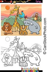 wild animals cartoon coloring book - Coloring Book or Page...