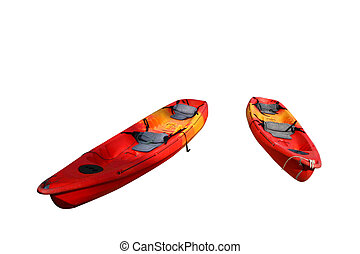 Red kayak isolated on white background
