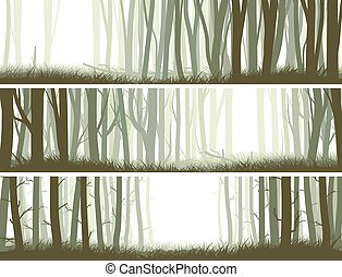 Forest with trunks of trees. - Set horizontal banners inside...