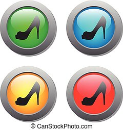 Lady shoe icon on buttons set. Vector illustration