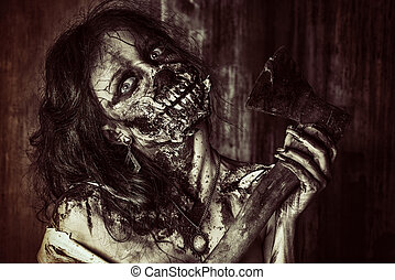 creepy creature - Furious bloody zombie girl. Horror....