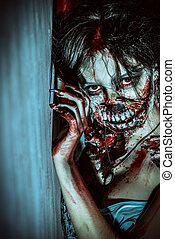 doomsday - Close-up portrait of a scary bloody zombie girl...