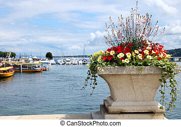 View of Lake Geneva, Switzerland with flowers in the foreground