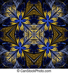 Symmetrical pattern in stained-glass window style. Blue and...
