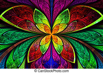 Multicolored symmetrical fractal pattern as flower or...