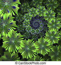 Spiral flower background. Green palette. Computer generated...